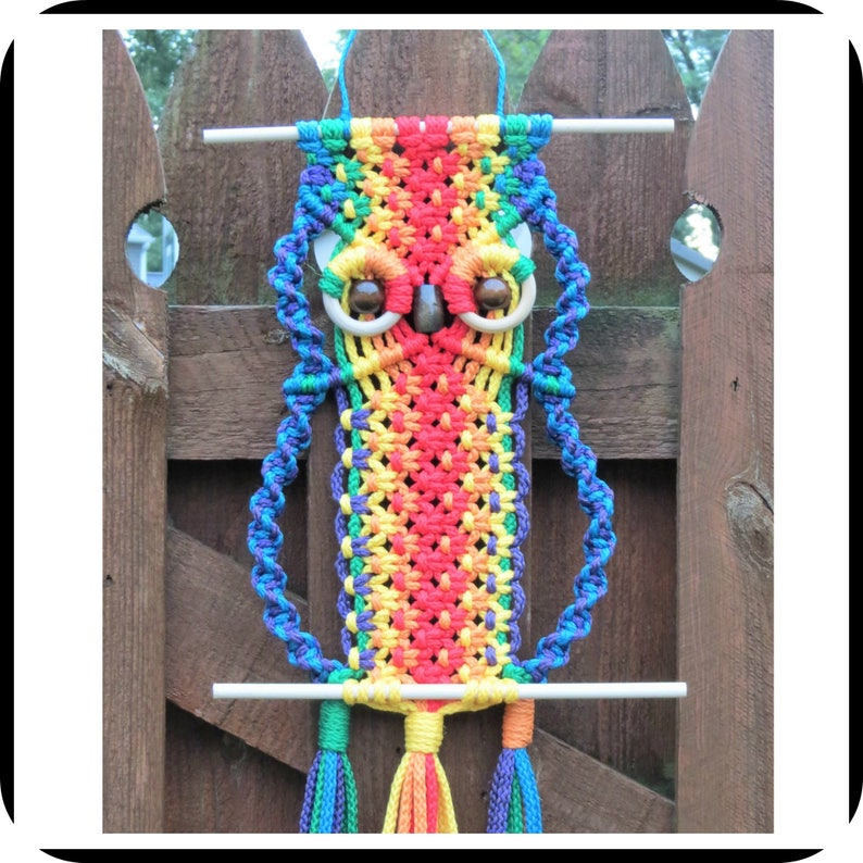 Rainbow Wall Hanging Rainbow Owl Rainbow Macrame Colorful Etsy
