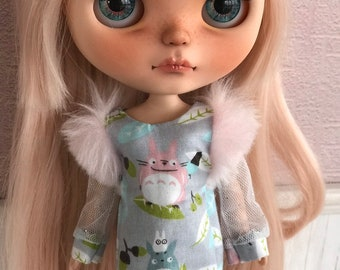 3c708b3e419f Blythe Doll Totoro Glam Long Sleeve dress by Maker and Muse for Neo Blythe
