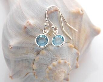 Birthstone Earrings, Swarovski Birthstone Earrings, Personalized Earring, Sterling Earrings, Silver Earrings, Gift for her