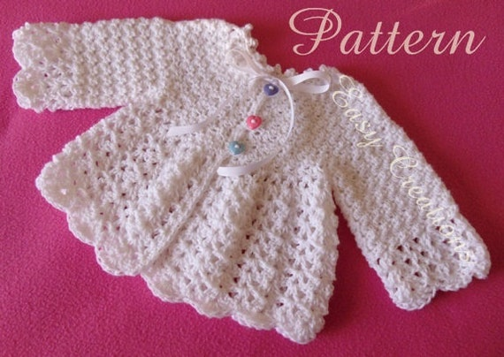 Pdf Crochet Pattern Baby Sweater Lacy Size 3 To 6 Months Etsy