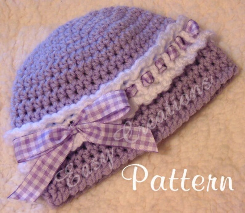 46292f1d CROCHET PATTERN Headband Beanie Ribbon baby girl girls | Etsy