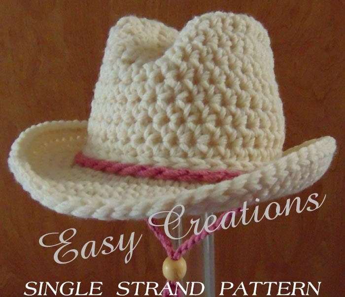 SINGLE STRANd CROCHET PATTERn Cowboy Cowgirl Hat Baby Rodeo | Etsy