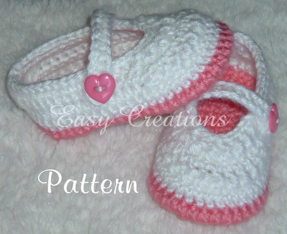 Crochet Pattern Mary Jane Shoes Booties Baby Babies Girl Girls Etsy