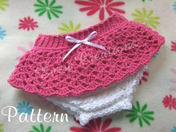 Crochet Pattern Diaper Cover Lacy Attached Skirt Baby Bloomers