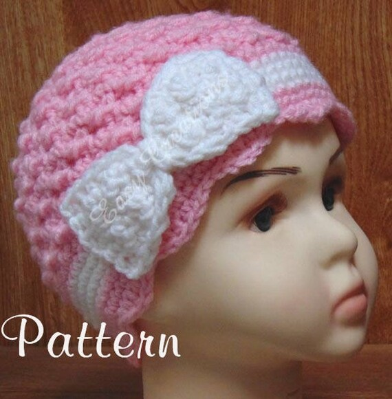 Crochet Pattern Chemo Hat Bow Flower Cap Cancer Pink Etsy