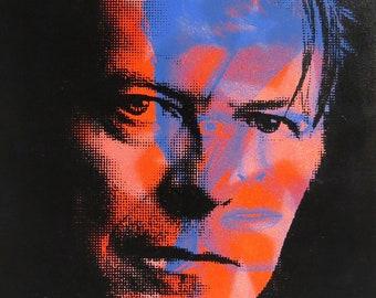 David Bowie 4 Color Screenprinted Wood Panel