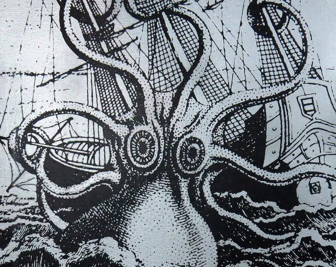 Attack of the Kraken 9x12 Screenprinted Wall Art