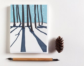 Set of 12 Letterpress printed New Years Winter Scene Solstice Blank Card January Stationary