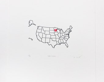 Custom Hometown Pride Letterpress Print United States Personalized with a Heart on Your State