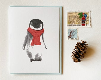 Set of Penguin Holiday Cards Cute Christmas Card Set of 12