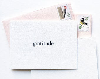 6 Gratitude Snail Mail Thank You Note Cards Letterpress Printed Stationary Luxurious Pen Pal Thick Paper Simple Stationery