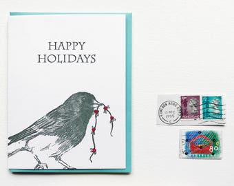 Letterpress Holiday Christmas Card Set Happy Holidays for the Nature and Bird Lover