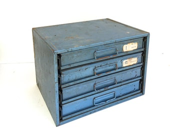 Vintage Industrial Metal Cabinet~ Bowman Products 4 drawer Cabinet~ Utility mechanics Storage box ~ Industrial office decor ~Ice Blue