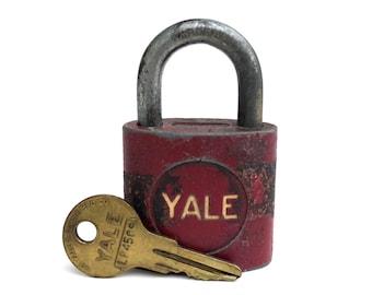 Vintage Red metal YALE Lock~ Works w original key ~ Perfect patina ~Industrial Metal lock