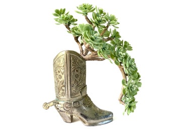 Rustic Country Wild West Western Decor Cowboy Spurs Boots Planter indoor Vase