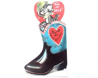 "Vintage Valentines Day Card ""Pon my soul. You're my Valentine"" Sweet Chipmunk Cowboy boot 1950's Glitter card ~Unused excellent condition!"