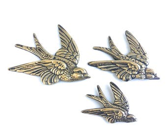 Vintage Brass Swallow Wall Hangings ~ Set of 3 ~ Family of sparrows~ wall art