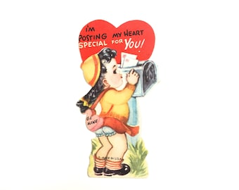 "Vintage Valentines Day Card ""I'm posting my heart special for you!"" Sweet 1950's Die Cut Unused Card~ Girl mailing valentine~ Mint Condition"