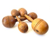 Antique Wooden Dumbbells Set of 3 Wood Barbells, Old Weights, Vintage Sports Decor Rustic Man Cave Industrial Decor Instant Collection