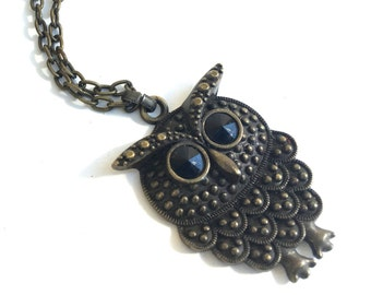 Vintage Boho Owl Necklace Pendant ~Boho statement necklace ~Unique statement piece