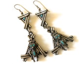 Vintage Kachina Doll Earrings Native American Pewter Earrings Navajo