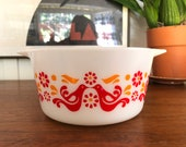 Pyrex Vintage Friendship Birds 1 Quart Casserole Dish 473 USA RARE