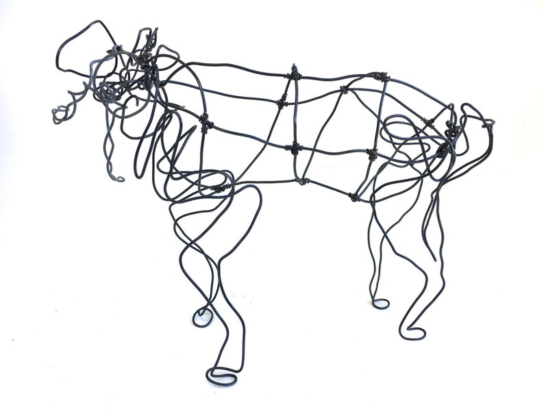 Wire Elephant Sculpture Vintage Abstract Elephant Art Piece