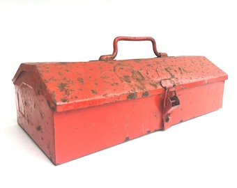 Vintage Red Toolbox ~ Red Metal Tool box~ Mada brand Tool Storage box ~ Industrial decor