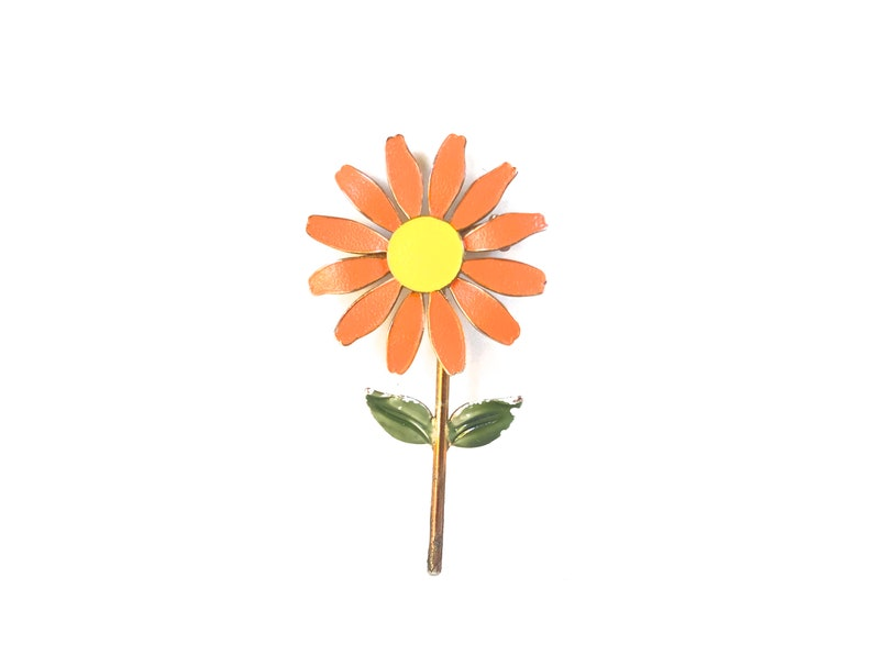 Vintage Enamel Flower pin~ Floral Brooch~ Spring fling~ Sweet statement piece~ Orange yellow /& green