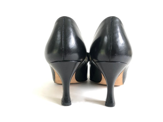 aea0604345c90 Vintage Black Bow Heels~ 1940's Glamour pointed high heels with suede bow~  Enzo Angiolini ~ Pump Size 8 M