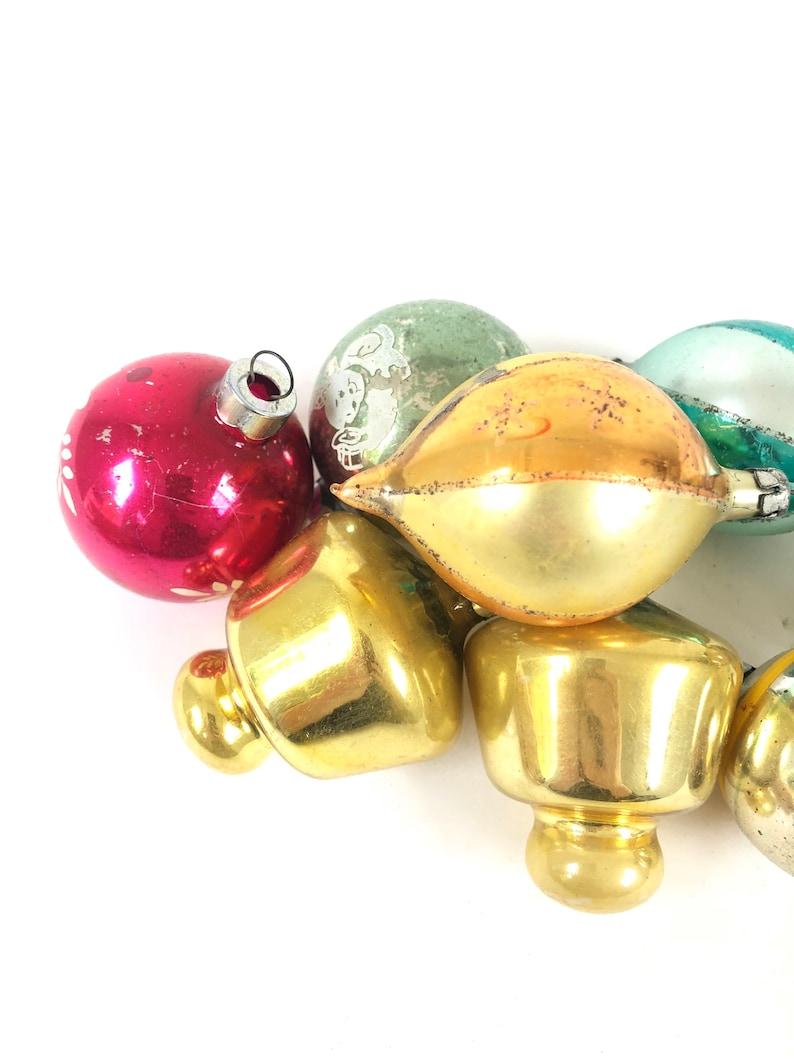 Vintage Glass Ornament lot ~ 8 Christmas ornaments in original box~ Retro 1950/'s holiday decor