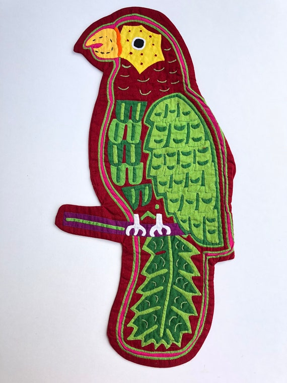 Vintage Large Mola Bird Patch~ Embroidery, Primit… - image 2