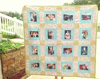 16 Photo Memory Quilt - Twin Size includes decorative long arm quilting