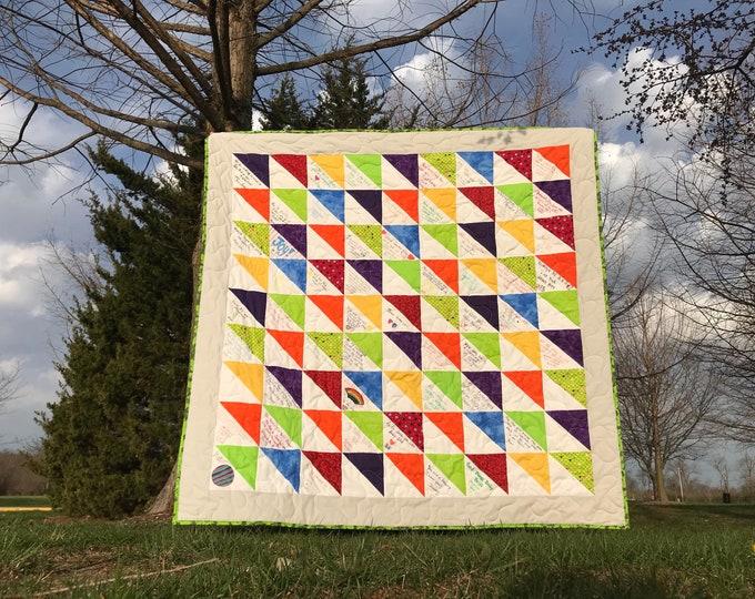Signature Quilt in triangular design pattern