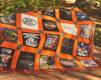 Harley Davidson 25 Block TShirt Quilt Custom Made Queen Size