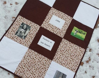 Pet Memorial Photo Memory Quilt custom made 36in x 48in for dog, cat, horse loss tribute