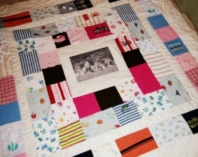 Custom Baby Clothes Quilt - Throw Size