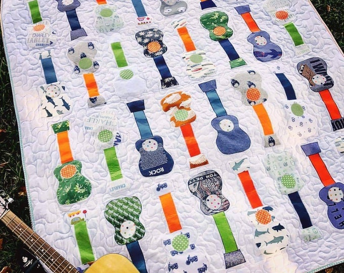 Guitar Shape Baby Clothes Quilt Blanket