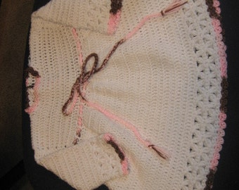12 mth long sleeve, white dress with pink/brown trim