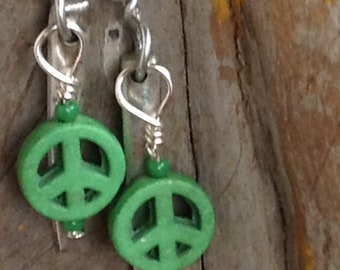 Fork Tines and Peace Sign Bead Earrings