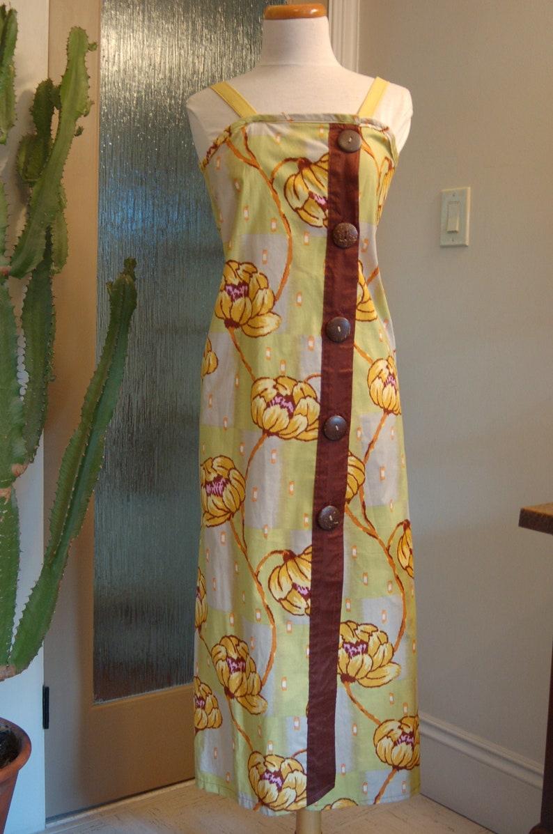 Designer fabric sundress with large flower pattern image 0