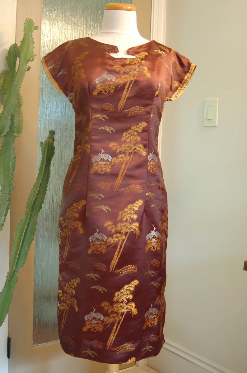 Brown chinese silk asian inspired dress image 0
