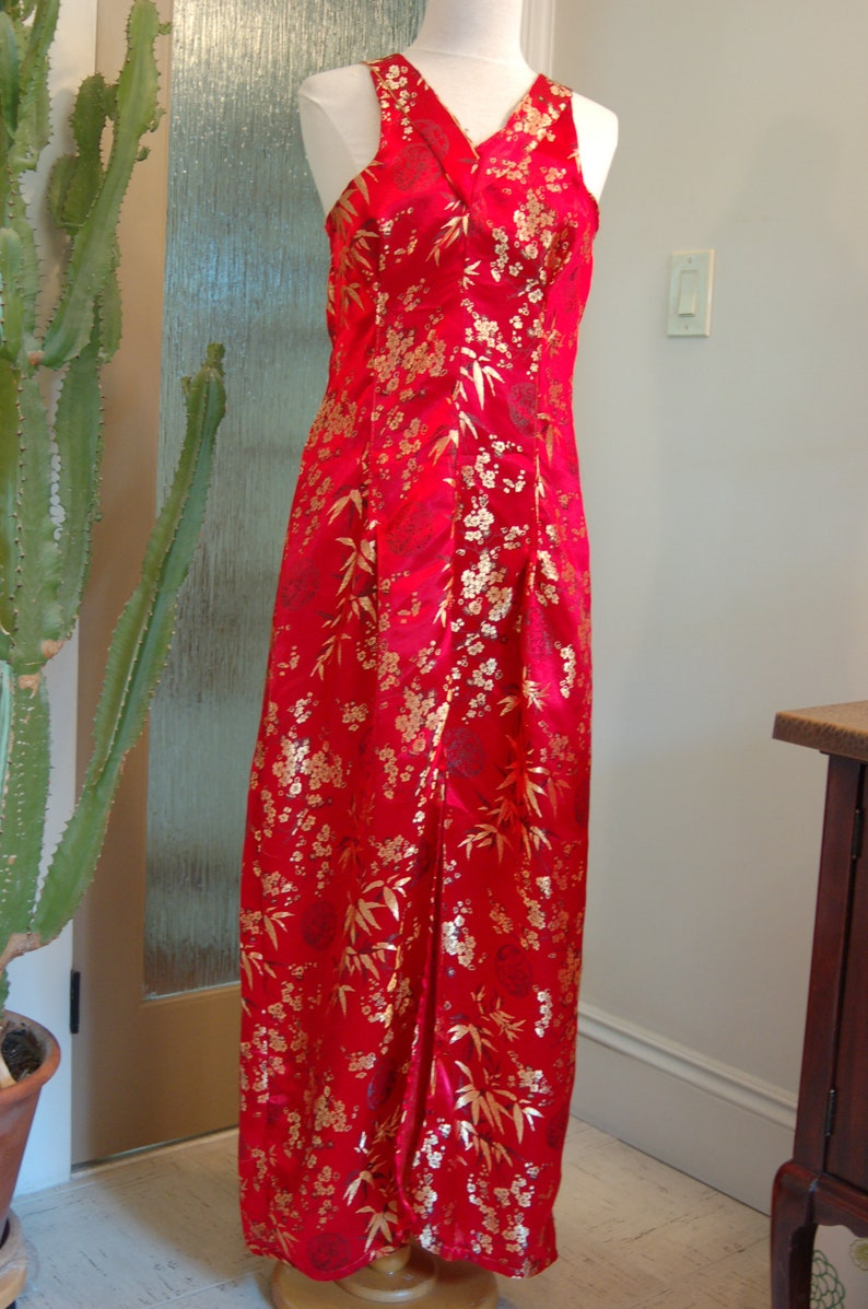 Red and gold asian inspired long dress image 0