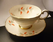 Vintage Staffordshire England Fine Bone China White and Orange Berries and Silver Leaves Tea Cup and Saucer with Gold Gilt