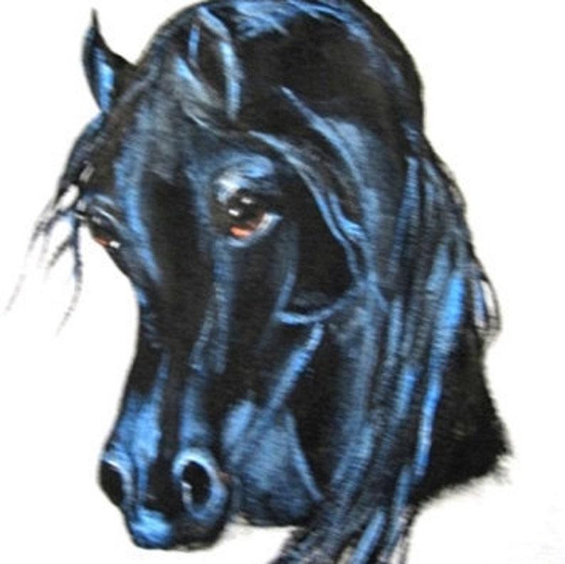 ARABIAN hORSE ART tee shirt hand painted Black arabian