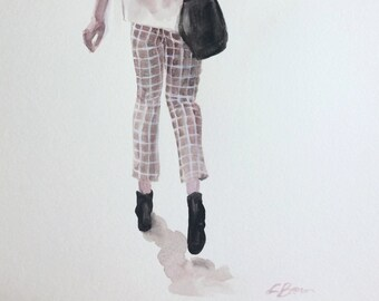 Pants, Original watercolor and acrylic on paper