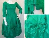 Vintage Green Damask 1950s Cocktail Dress SZ S