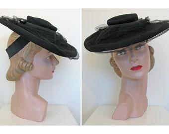 785a54cc497 Vintage 1930s Black Felt Tilt Hat