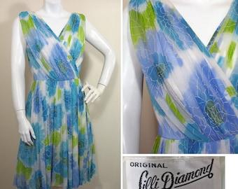 1960s Lilli Diamond Print Chiffon Party Dress SZ S