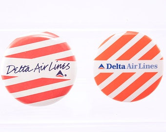 Delta Air Lines, 1970's Vintage Pinback Buttons, Badges, White, Orange, Blue, Set of Two